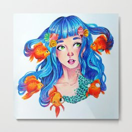 Ocean Hair Metal Print