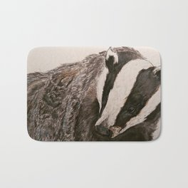 Watercolor Badger Painting Bath Mat
