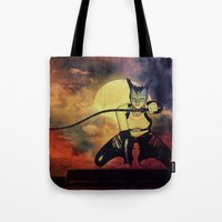catwoman Tote Bags featuring catwoman by Ancello