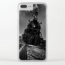 Locomotive on Railroad Tracks Clear iPhone Case