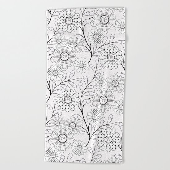 .Floral pattern on a white background. Beach Towel