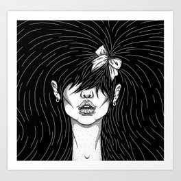 Girl With a Ribbon  Art Print