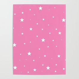 Scattered Stars on Pink Poster