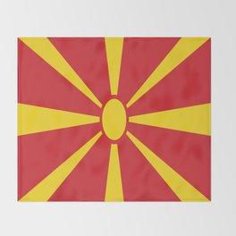 Flag of Macedonia - Macedonian,skopje,Bitola,Kumanovo,Prilep,Balkan,Alexander the great,Karagoz,red Throw Blanket