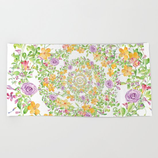 Floral Hypnosis Beach Towel