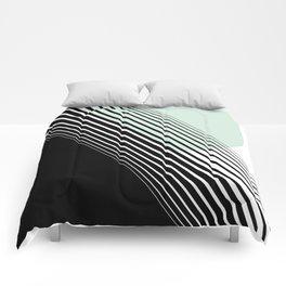 Rising Sun Minimal Japanese Abstract White Black Mint Green Comforters
