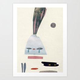 volacno and moon Art Print