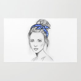 Girl in Blue Rug