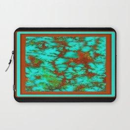 Black-Brown Turquoise December Birthstone Design. Laptop Sleeve