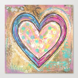 blue and pink hearts Canvas Print