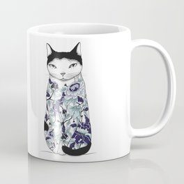 Cat in Blue Peony Tattoo Coffee Mug