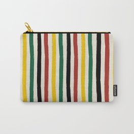 Rustic Lodge Cabana Stripes Black Red Yellow Green Carry-All Pouch