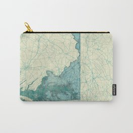 Maryland State Map Blue Vintage Carry-All Pouch