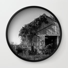 Abandoned Barn Garden (Black & White Photography) Wall Clock