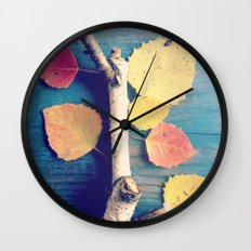 Autumn Birch Leaves and Twigs Wall Clock