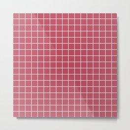 Popstar - pink color - White Lines Grid Pattern Metal Print