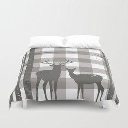 Deer & Birch Grey Plaid Duvet Cover