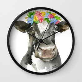 Black and White Cow with Floral Crown Watercolor Painting Wall Clock