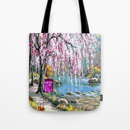 Tardis Art Cherry Blossom River Painting Tote Bag