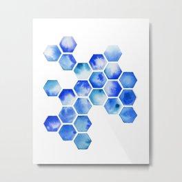 Blue Octagon Pattern Metal Print