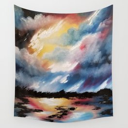 Moody Sunset, Dark Sunset, Abstract Sunset, Seascape, Sunscape, Skyscape Wall Tapestry