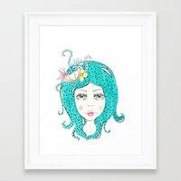 polkadot Framed Art Prints featuring Polkadot Girl by Lisa Bulpin