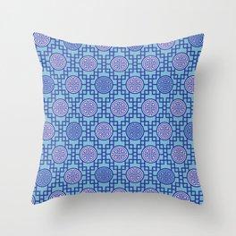 Chinese Geometrics / Blue Throw Pillow