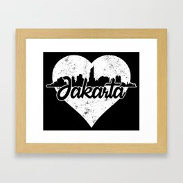Retro Jakarta Indonesia Skyline Heart Distressed Framed Art Print