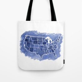 Watercolor Map of America Tote Bag