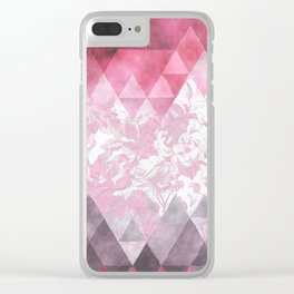 Abstract pink gray watercolor floral triangles Clear iPhone Case