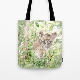 Leopard cub amongst the jungle palm leaves Tote Bag