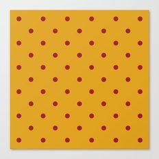 Polka Dots, Mustard and Red Canvas Print