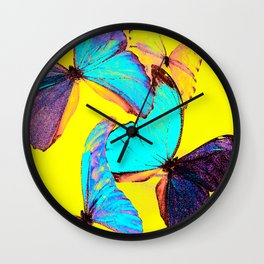 Shiny and colorful butterflies #decor #buyart #society6 Wall Clock