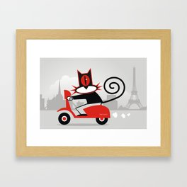 Hellcat on a scooter Framed Art Print