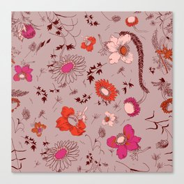 large floral print - pinks Canvas Print
