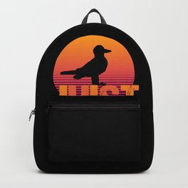 Sunset Sea Gull Juist North Sea Germany Island Backpack