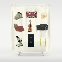 221b Shower Curtains featuring 221B Baker Street by CHOCOMINT GEEK