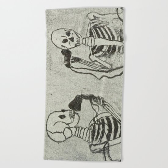 Skeleton's telephone. Beach Towel