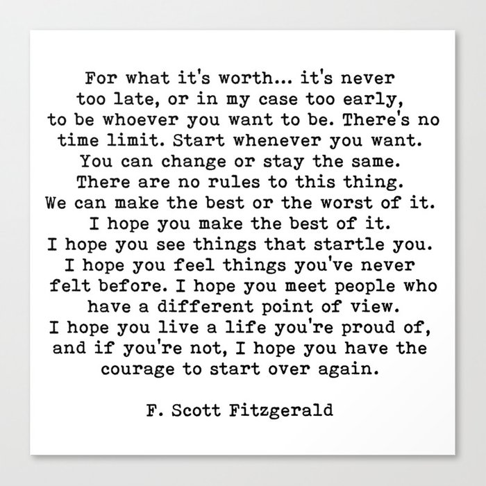 Life quote, For what it's worth, F. Scott Fitzgerald Quote Leinwanddruck