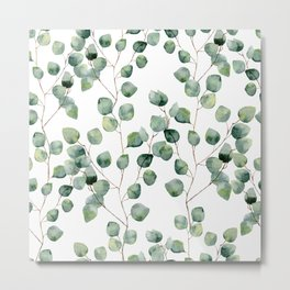 Watercolor eucalyptus silver dollar Metal Print