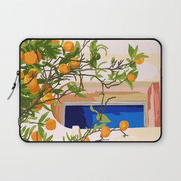 Wherever you go, go with all your heart,Summer Orange Tree Travel Luxury Villa Spain Greece Painting Laptop Sleeve