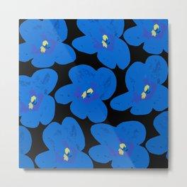 Blue Retro Flowers on Black Background #decor #society6 Metal Print