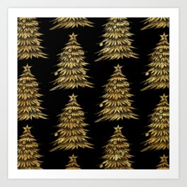 Gold Christmas Tree On Black Christmas Pattern Art Print