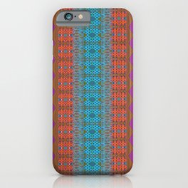 Glowing Coral, Magenta and Turquoise Zag Honeycomb Modern Stripes iPhone Case