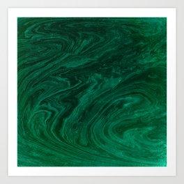 malachite green marbleized effect marble painting Art Print