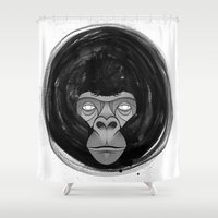 gorilla Shower Curtains featuring Gorilla  by dchristo