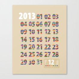 Minimalist Calendar 2013 (Light version) Canvas Print