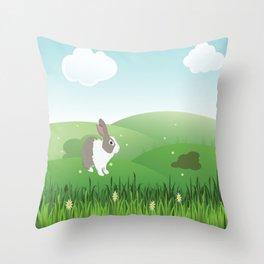 Dutch rabbit in field Throw Pillow
