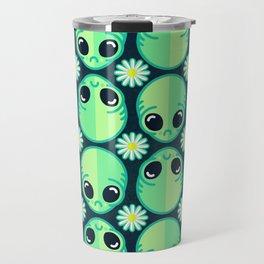 Sad Alien and Daisy Nineties Grunge Pattern Travel Mug