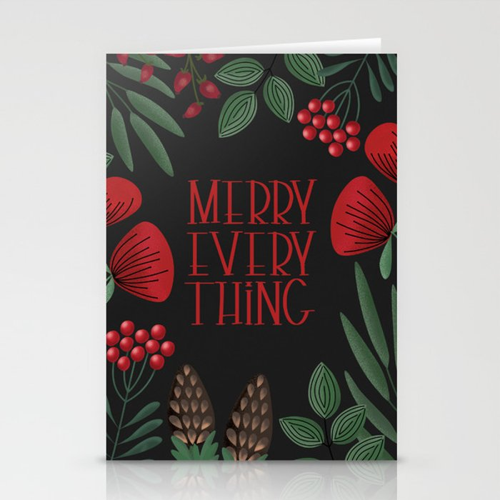 Merry Everyting with scandinavian florals (black) Stationery Cards